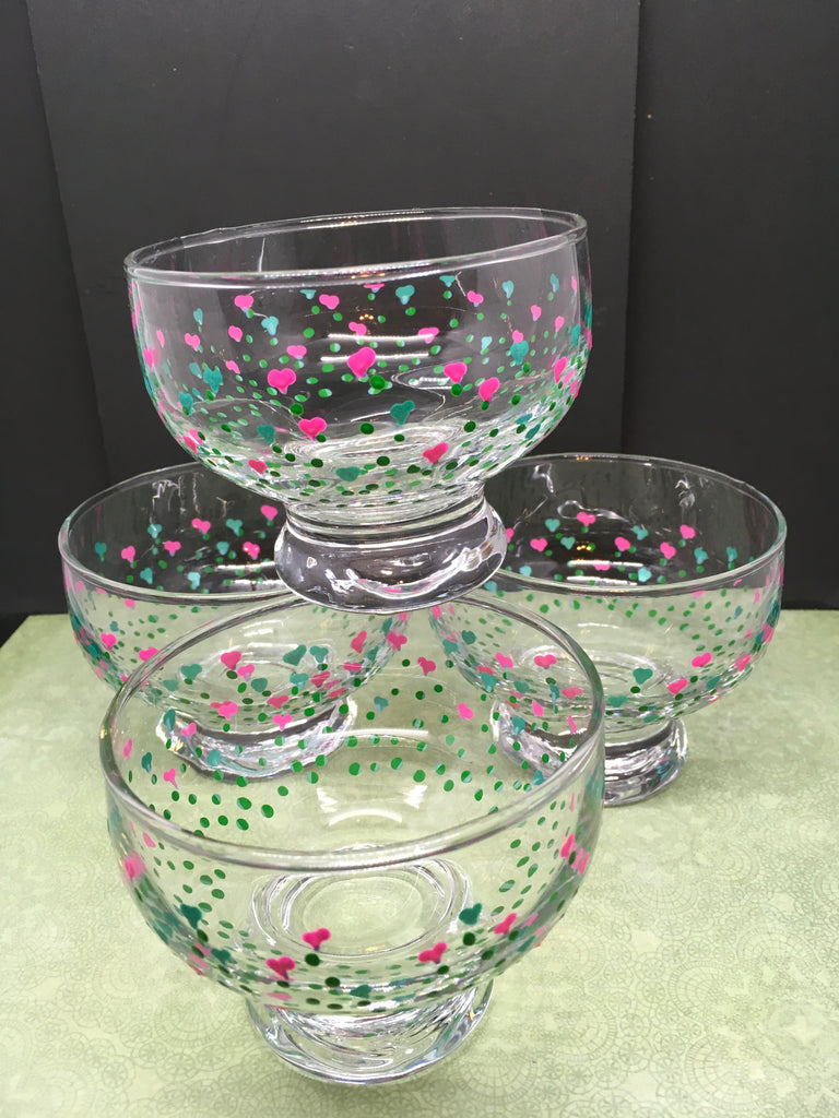 Dessert Dishes Bowls Hand Painted SMALL Heart Flowers Pink and Aqua Heart Flowers SET of 4 - JAMsCraftCloset