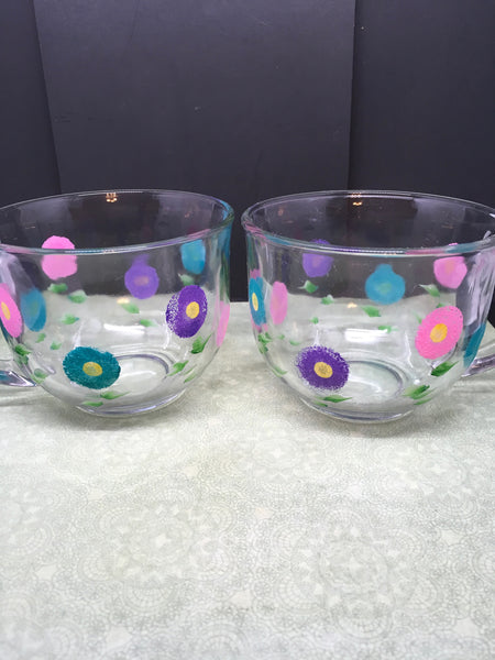 Coffee Soup Mugs Hand Painted Clear Glass Spring Flower HAPPY DOTS Pink, Aqua, and Purple Flowers SET OF 2 Kitchen Decor Gift Home Decor One of a Kind - JAMsCraftCloset