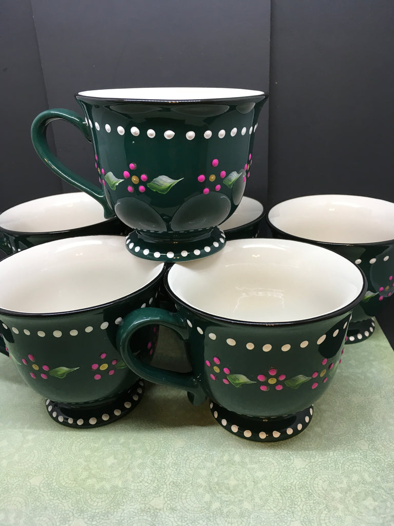 Mugs Cups Hand Painted Dark Green Off White Interior Stoneware Pink Dot Flowers White Dot Trim