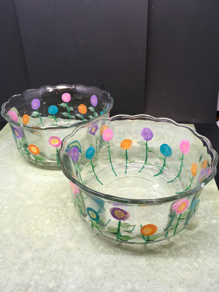 Serving Dishes or Bowls Hand Painted Spring Flower Pink Aqua Purple and Orange
