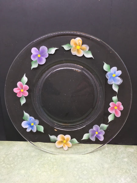 Hand Painted Dessert Plates Clear Glass Floral Red, Blue, Orange, and Purple Flowers First Set Purchased Gets 5th Plate FREE Set of 4 Gift JAMsCraftCloset