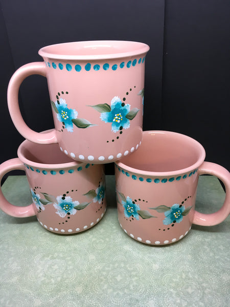 Mugs Cups  BUY 2 GET 1 FREE Hand Painted Peach Set of Two Turquoise White Flowers