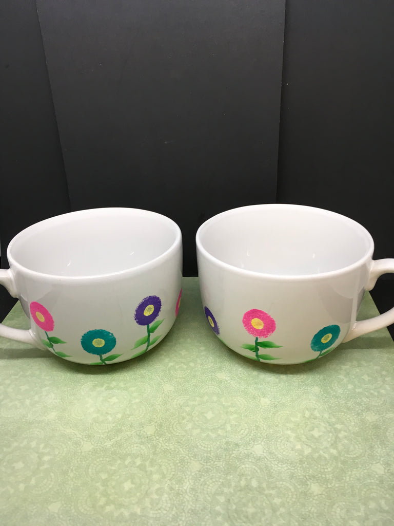Mug Coffee Soup Hand Painted Spring Flower White Pink Blue Purple Flowers