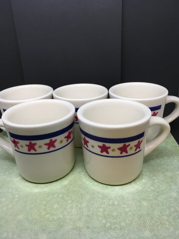 Cups Mugs Coffee Hand Painted Stars Dots Buffalo Company  Set of 4 - JAMsCraftCloset