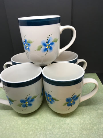 Cups Mugs Blue Floral 08 College Vintage Hand Painted Drinkware  SET of 4 - JAMsCraftCloset