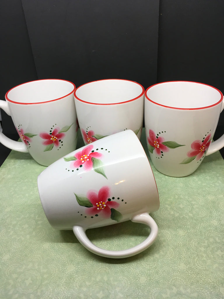 Mugs Cups Hand Painted Red Floral Corelle Stoneware Classic Cafe White Red Rimmed SET of 4