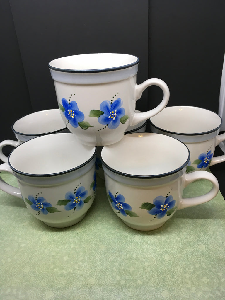 Cup Mugs Off White Hand Painted Blue Flowers Set of Six - JAMsCraftCloset