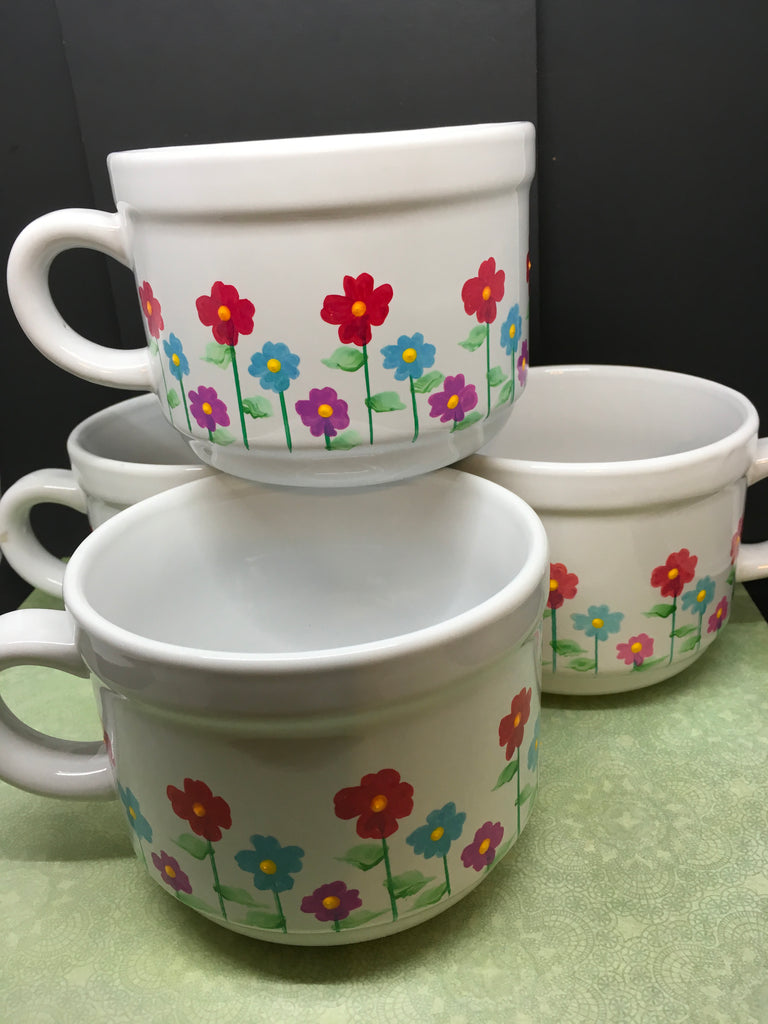 Mugs Soup Coffee Hand Painted Floral Red Blue Purple Accents
