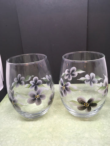 Glasses Hand Painted Clear Water, Soda, Etc  Painted With Black Flower Accents Set of 2