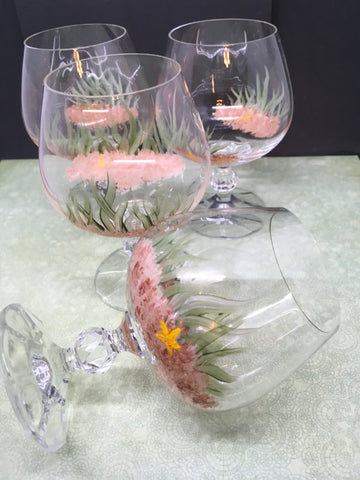 Stemware Sniffers Hand Painted Beach SMALL Glass With A Starfish Accent  SET OF 4 - JAMsCraftCloset