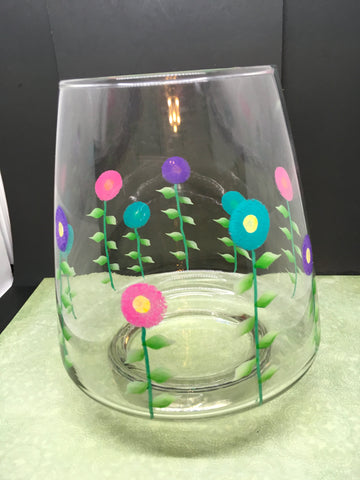 Vase Glass Flower Hand Painted Spring Flower Pink Aqua Purple Flowers