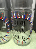 REAL MAN Mug or MAN Cave Mug Hand Painted Clear Glass Extra Large