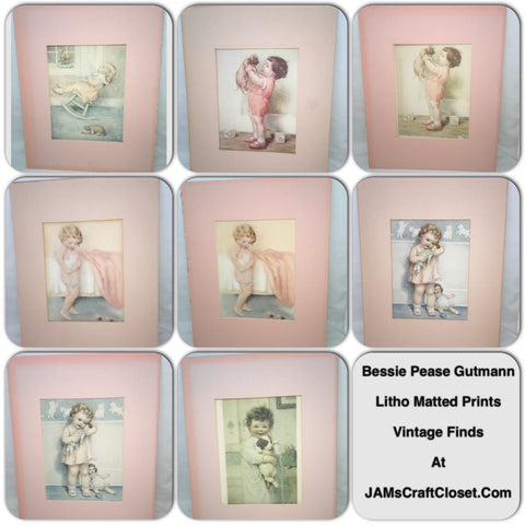 Bessie Pease Gutmann Lithograph PRINTS with Pink MATTING Vintage Home Decor Nursery Decor