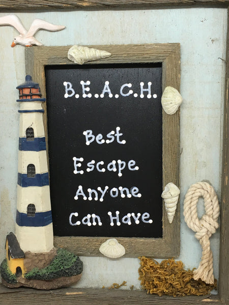 BEACH BEST ESCAPE ANYONE CAN HAVE Framed Saying Sign Wall Art Hand Painted Home Decor Gift JAMsCraftCloset