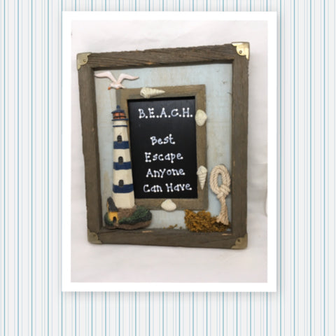 BEACH BEST ESCAPE ANYONE CAN HAVE Framed Saying Sign Wall Art Hand Painted Home Decor Gift