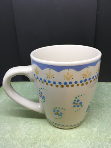 Mugs Cups Coffee Blues Hand Painted Off White Blue Gold White HAPPY DOT Flowers Green Glass