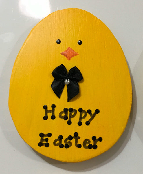 Magnet Wooden HAPPY EASTER Chick Handmade Hand Painted Gift Idea Kitchen Decor - JAMsCraftCloset