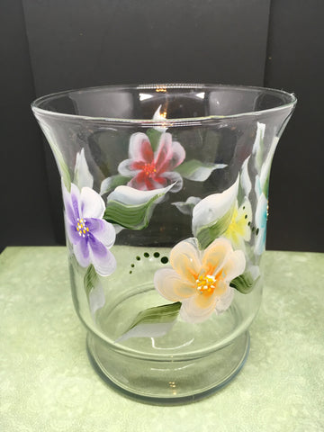 Vase Clear Glass Hand Painted Red Blue Purple Yellow Aqua Orange Florals - JAMsCraftCloset