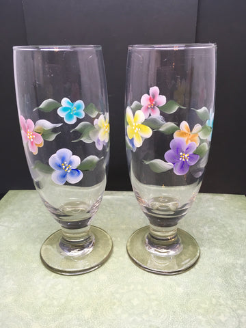 Stemware Glasses Floral Hand Painted  Set of 2  Red Blue Yellow Purple Aqua Orange