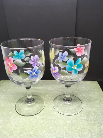 Stemware Glasses Hand Painted Floral Clear Glass Pink Blue Yellow Purple Aqua Orange