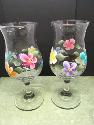 Stemware Glasses Floral Hand Painted Clear Glass Set of 2  Red Blue Purple Orange Design