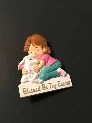 BLESSED BY THY EASTER Badge Pin Collectible Jewelry Gift Idea Child and Lamb - JAMsCraftCloset