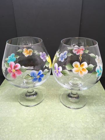 Sniffers Glasses Floral Hand Painted Set of Two Red Blue Yellow Purple Orange and Aqua Flowers