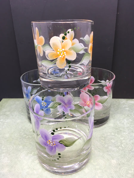Juice Glasses Hand Painted Floral Clear Glass  Red, Blue, Orange, Purple Set of 4