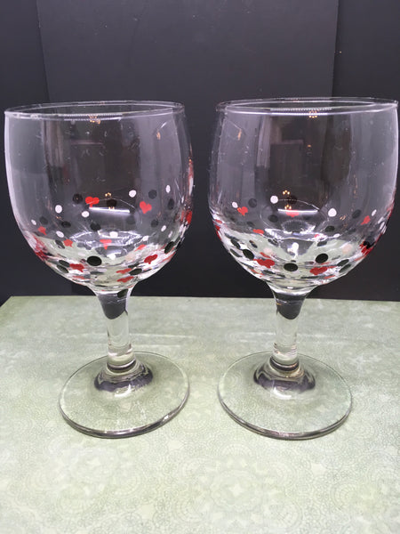 Wine Stemware Glasses Hand Painted Barware Drinkware Set of 2 Black White With Red Hearts Kitchen Decor Party Glasses One of a Kind Gift JAMsCraftCloset