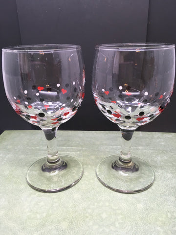 Stemware Glasses Hand Painted Set of 2  Black White With Red Hearts