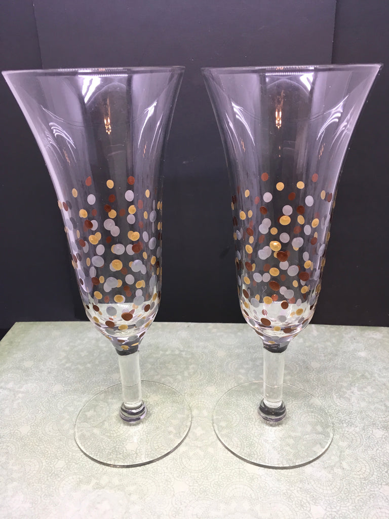 Stemware Flutes Hand Painted in Gold Silver Bronze Accents