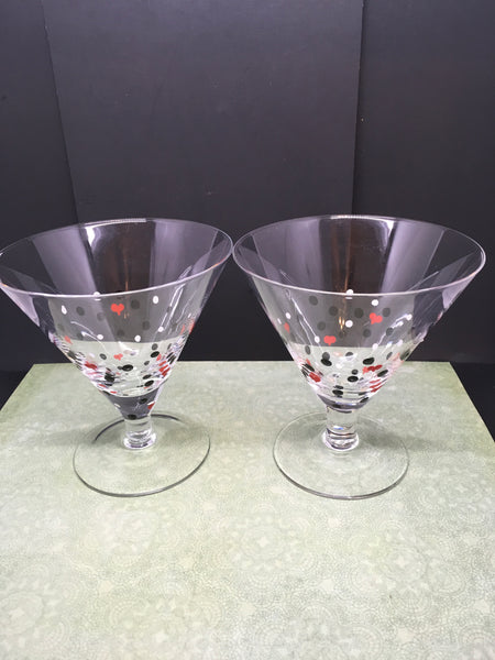 Martini Stemware Glasses Hand Painted Set of 3  Red White Polka Dots Red Hearts