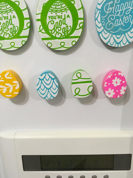 Magnet Wooden EASTER EGGS Handmade Hand Painted Gift Idea Kitchen Decor SET of 4