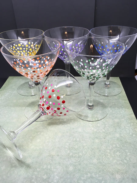 Martini Stemware Glasses Hand Painted Set of 6 Purple, Red, Yellow, Green, Orange, and Blue Drinkware Barware Kitchen Decor Bar Decor Gift