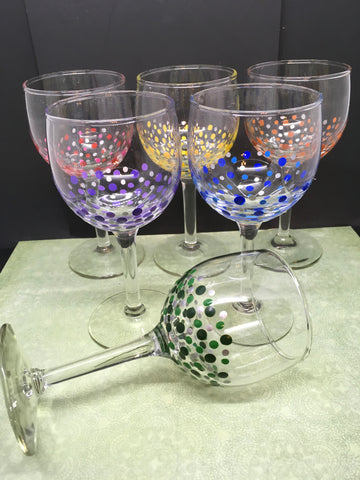 Stemware Glasses Hand Painted Set of 6  Red Blue Yellow Green Orange Blue Silver Accents