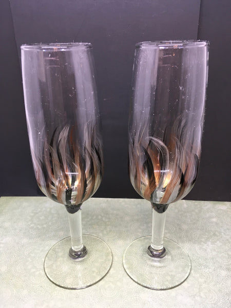 Champagne Stemware Glasses Hand Painted Black Silver Gold and Bronze Accents Barware Bar Decor Drinkware Kitchen Decor Country Decor Gift One of a Kind JAMsCraftCloset