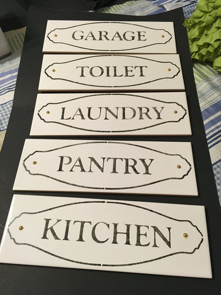 Tile Sign LAUNDRY KITCHEN PANTRY GARAGE TOILET Wall Art Gift Idea Home Decor - JAMsCraftCloset