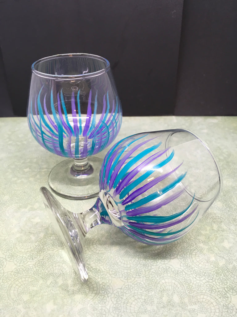 Stemware Sniffers Small Hand Painted Clear Glass Set of Two  Perfect Purple Aqua