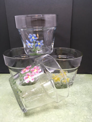 Containers Flower Pot Style Glass Hand Painted Wedding Choice of 4 Designs - JAMsCraftCloset