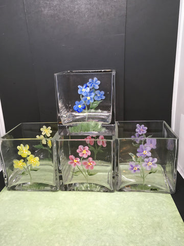 Container Floral Glass Hand Painted Square Choice of 4  Purple Pink Yellow or Blue - JAMsCraftCloset