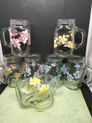 Mugs Mason Jar Hand Painted Floral Aqua Yellow Purple Pink Blue