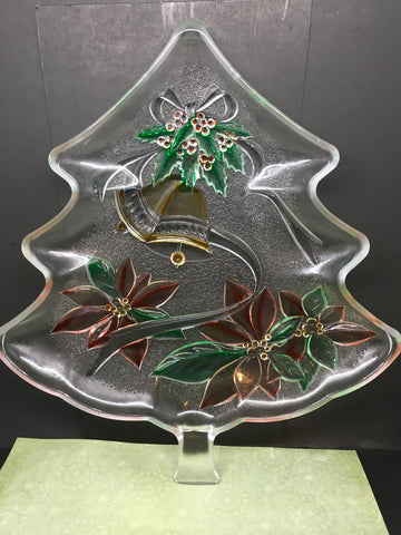 Tree Shaped Plate, Platter, or Tray Hand Painted Clear Glass Poinsettia Bell Accents Kitchen Decor Table Decor Home Decor Holiday Decor Gift JAMsCraftCloset