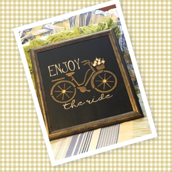 ENJOY THE RIDE Framed Wall Art Affirmation Positive Saying Home Decor Gift Wedding Kitchen -One of a Kind-Unique-Home-Country-Decor-Cottage Chic-Gift - JAMsCraftCloset
