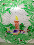 Serving Platter Plate Hand Painted Round Candle Christmas Bulbs