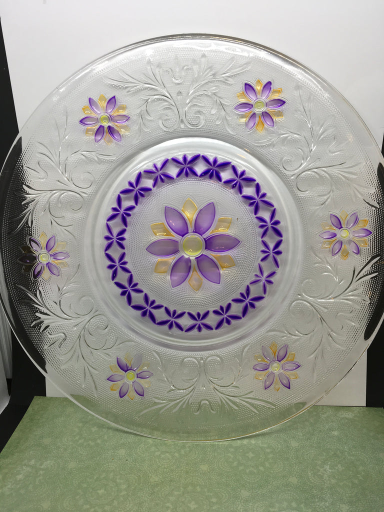 Serving Plate Glass Purple Yellow Hand Painted