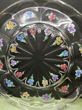 Serving Dish Platter Tray Vintage Hand Painted Floral Clear Glass Red Blue Orange Purple