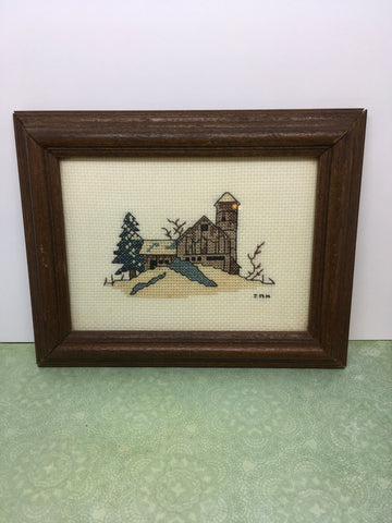 Picture Vintage Picture Cross Stitch Farmhouse Barn Kitchen Home Country Kitchen Primitive