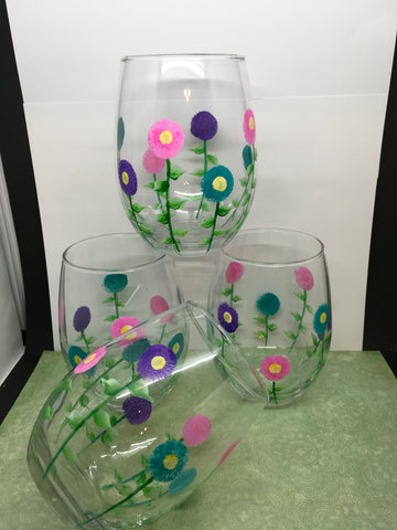 Glasses Drinking Hand Painted Clear Glass Floral  Pink, Aqua, and Purple Flowers  SET OF FOUR