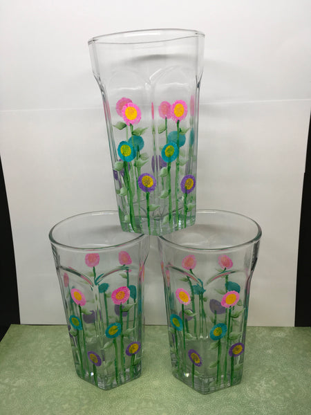 Water Glasses Unique One of A Kind Hand Painted Clear Glass Pink, Turquoise, and Purple HAPPY DOT Flower Design Set of TWO Drinkware Gift JAMsCraftCloset