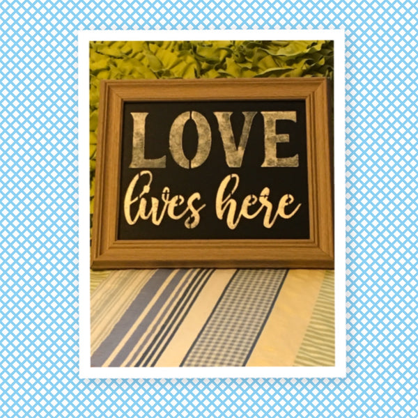 LOVE LIVES HERE Framed Wall Art Hand Painted Rustic Brown White Wood Frame Home Decor Gift-One of a Kind-Unique-Home-Country-Decor-Cottage Chic-Gift Kitchen Decor - JAMsCraftCloset